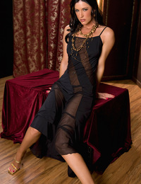 India Summer brings you back to a dimly lit storeroom and invites you to share her secret, decadent sexual fantasies. This sexy socialite slowly strip