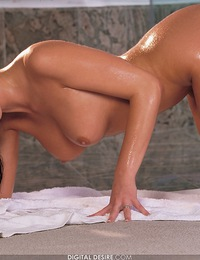 Sandra Shine takes a warm shower and cleans all over